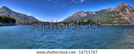 Panoramic view of como lake - Italy (HDR) - stock photo