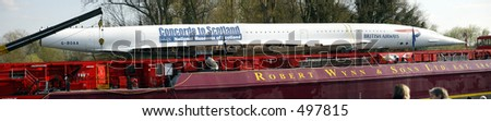 panoramic view of concord on the river thames going to scotland - stock photo