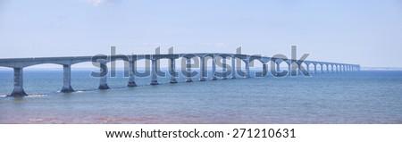 Panoramic view of Confederation Bridge from New Brunswick Canada. - stock photo