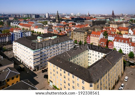 Panoramic view of Copenhagen - capital of Denmark - stock photo