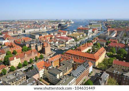 Panoramic view of Copenhagen. Denmark - stock photo