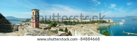 Panoramic view of Corfu town from the old fortress - stock photo