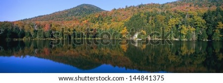Panoramic view of Crawford Notch State Park in the White Mountains, New Hampshire - stock photo