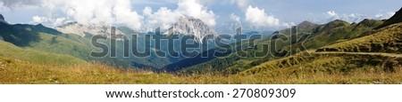 Panoramic view of Crode Dei Longerin - Alpi Carniche or Karnische Alpen - Dolomiti - Italy - stock photo
