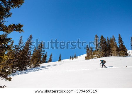 Panoramic view of cross-country skiing in sunny winter landscape in Ural with blue sky, Europe