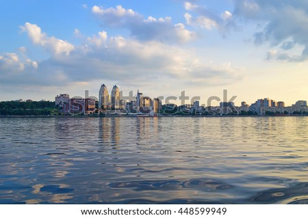 Panoramic view of Dnipropetrovsk city skyline from Dnieper river. Early evening view of Dnipro city.