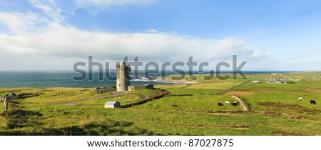 Panoramic view of  Doonagore castle in Ireland. - stock photo