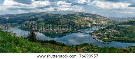 Panoramic view of Douro Valley - Town Oliveira do Douro. Portugal's port wine region. Point of interest in Portugal. - stock photo