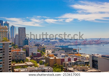 Panoramic view of downtown and port of Seattle and  mountain Rainer looming over the skyline