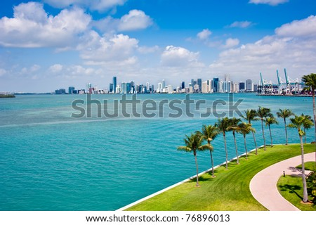 Panoramic view of Downtown Miami and Biscayne Bay. - stock photo