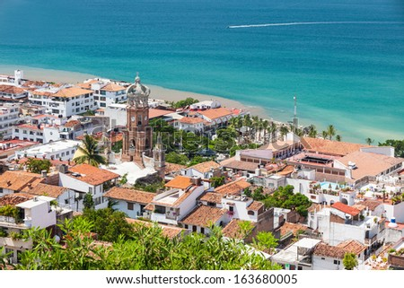 Panoramic view of downtown Puerto Vallarta - stock photo