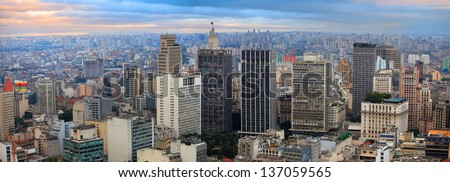 Panoramic view of downtown Sao Paulo in twilight time - stock photo