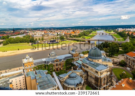 Panoramic view of Dresden and the river Elbe. - stock photo