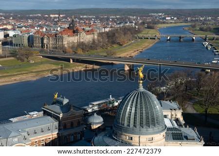 Panoramic view of Dresden from Frauenkirche church - stock photo