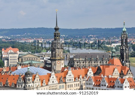 Panoramic view of Dresden from the city hall - stock photo