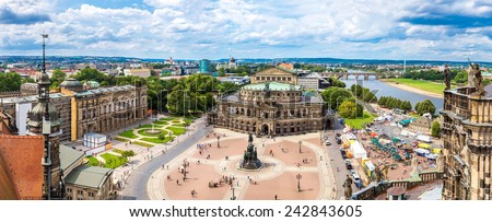Panoramic view of Dresden, Germany.  - stock photo