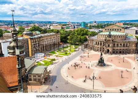 Panoramic view of Dresden, Germany. Semper Opera House - stock photo