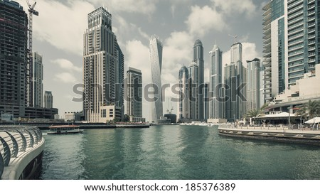 Panoramic view of Dubai Marina. Dubai Marina is an artificial 3 km canal carved along the Persian Gulf shoreline. - stock photo