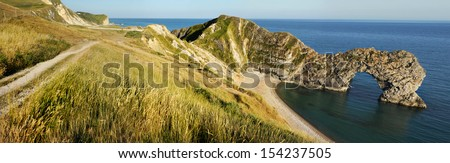 Panoramic View of Durdle Door in United Kingdom. - stock photo