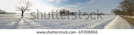 panoramic view of dutch landscape in winter - stock photo