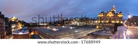 Panoramic view of Edinburgh at twilight - stock photo