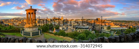 Panoramic view of Edinburgh castle from Calton Hill, Edinburgh, Scotland. - stock photo