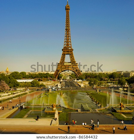 Panoramic view of Eiffel Tower in Paris, seen from the Trocadero, - stock photo