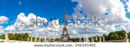 Panoramic view of Eiffel Tower most visited monument in France and the most famous symbol of Paris - stock photo