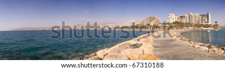Panoramic view of Eilat, Israel, from a pier in the red sea - stock photo