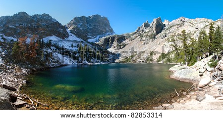 Panoramic view of emerald lake in rocky mountains national park, colorado