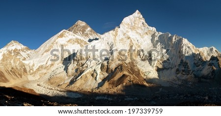 Panoramic view of Everest and Nuptse from Kala Patthar - top of world  - way to everest base camp - Nepal - stock photo