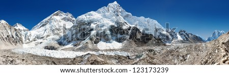 panoramic view of Everest, Nuptse, glacier and ice-fall khumbu from everest b.c. - stock photo
