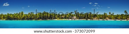 Panoramic view of Exotic Palm trees and lagoon on the tropical Island beach - stock photo