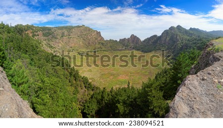 Panoramic view of extinct volcanic crater on island of Santo Antao, Cape Verde (Cabo Verde), Africa - stock photo