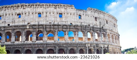 Panoramic view of famous ancient Coliseum in Rome - stock photo