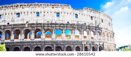 Panoramic view of famous ancient Colosseum in Rome - stock photo