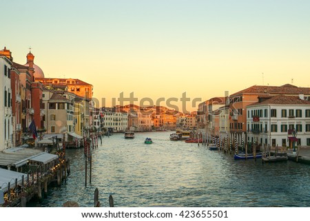 Panoramic view of famous Canal Grande from Scalzi bridge at sunset in Venice, Italy with dreamy style filter effect