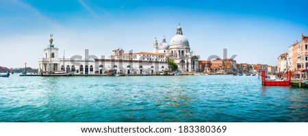 Panoramic view of famous Canal Grande with Basilica di Santa Maria della Salute in the background, Venice, Italy - stock photo