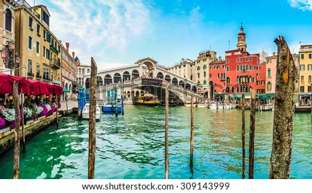 Panoramic view of famous Canal Grande with famous Rialto Bridge in Venice, Italy - stock photo