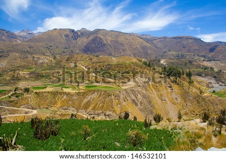 Panoramic View of farming terraces and Andes in Peru Colca Canyo - stock photo