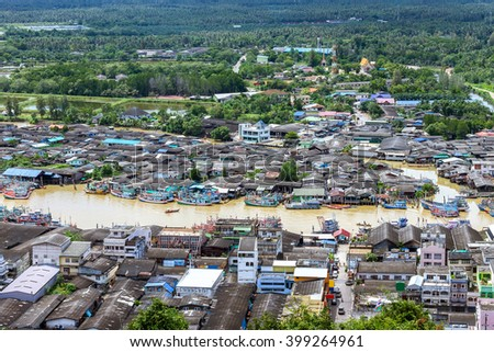 Panoramic view of Fishing Village in thailand