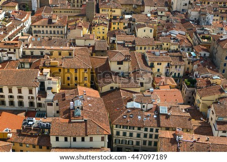 Panoramic view of Florence city, houses and streets, Tuscany, Italy. Florence is a popular tourist destination of Europe. - stock photo