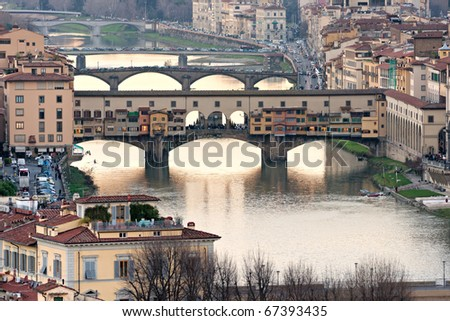 Panoramic view of Florence from Ponte Vecchio. - stock photo