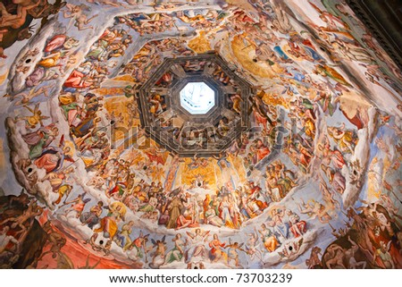 Panoramic view of Florence from  the Cupola of Duomo. Tuscany, Italy. - stock photo