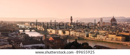 Panoramic view of Florence skyline at sunset seen from Piazzale Michelangelo - stock photo