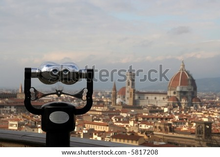 Panoramic view of Florence with binocular - stock photo