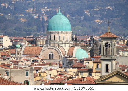Panoramic view of Florence with Synagogue - stock photo