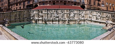 Panoramic view of Fonte Gaia (Fountain of Joy), Piazza del Campo, Siena, Tuscany, Italy - stock photo
