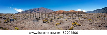 Panoramic view of Formica and Dolomieu craters in Reunion National Park; Reunion Island. - stock photo