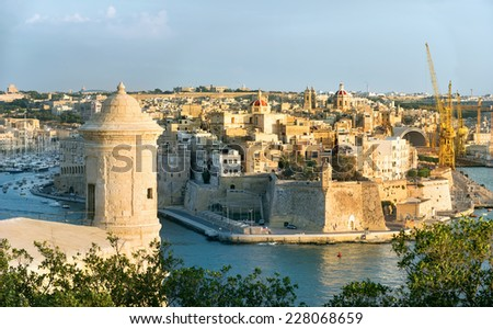 Panoramic view of fortress Grand Harbour in Valletta, Malta - stock photo